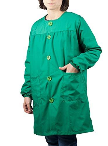 KLOTTZ - Camice da insegnante unisex, tinta unita, per la scuola e l'educazione. Verde Large-X-Large