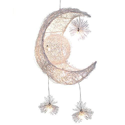 Lámpara de techo LED con forma de luna y estrellas, de aluminio, con 5 bombillas, creativa para niños, dormitorio, salón (luz blanca cálida)
