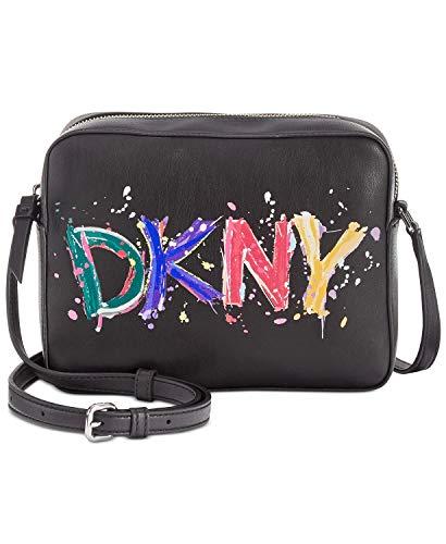 DKNY Tilly Paint Splatter Logo Camera Crossbody Handbag in Black