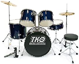 TKO 424 5-Piece Drum Set with Cymbals, Drum Throne & Bass Pedal; Color Metallic Blue