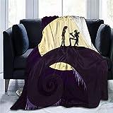 Yousiju Manta impresa Pesadilla antes de Navidad telón de fondo manta de franela cama tiro suave dibujos animados impresos sábanas de cama sofá (Color : B, Size : 100x120cm)