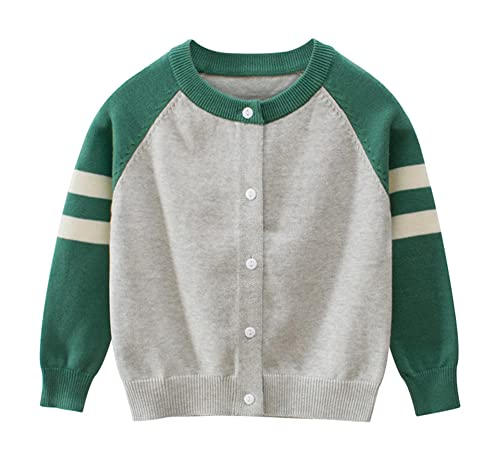 OdilMacy Toddler Baby Boys' Cardigan Sweaters Long Sleeve Crewneck Button Soild Cotton Soft Knit Sweater Outerwear Gray