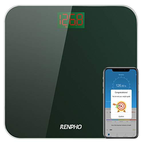 Renpho - Báscula de baño con Bluetooth, digital con indice de masa corportal (IMC), báscula de peso inteligente con retroiluminación LED y aplicación para smartphone, vidrio templado resistente, 181.44 kg/ 400 lb