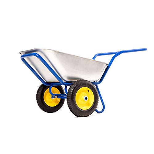 'KORONA - garden wheelbarrows' 2 Wheel Garden Cart Heavy Duty Wheelbarrow 2 Wheel Outdoor Garden Dump Wagon (Wheel Barrows And Garden Carts) Dual Cart For Gardening Wheel Barrel Metal - 573 lbs, 110 l