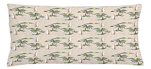 ABAKUHAUS Coconut Throw Pillow Cushion Cover, Island Pattern with Sailboat Summer Sun Clouds Palm Trees Beach Landscape, Decorative Square Accent Pillow Case, 36 X 16 Inches, Hunter Green Beige