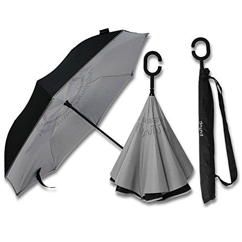 PUTUP – Der umgekehrte Regenschirm – Das Original – Innovativer Schirm, der nach Innen schließt – Der verkehrte Regenschirm ist besonders stabil und sturmfest > Reverse Umbrella (schwarz-grau)
