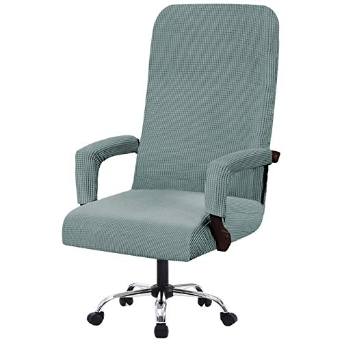 Flamingo P Stretch Office Chair Covers Computer Chair Universal Chair Cover Slipcovers Contemporary High Back Office Chair Covers, Thick Checked Jacquard, 2 Arm Covers (Sage, Large)