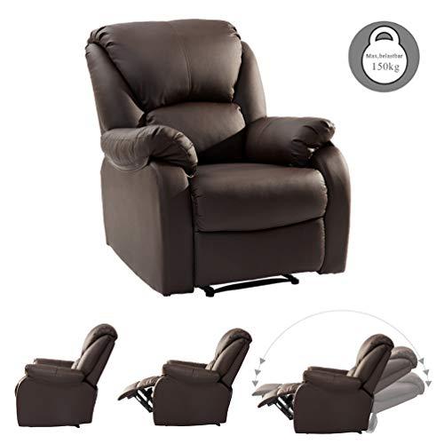 SOONSOP - Poltrona Relax reclinabile Regolabile, in Pelle PU, con Funzione reclinabile, per Salotto, Ufficio, Home Cinema, Divano, Colore: Nero Marrone