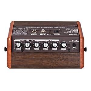 Fesjoy Verstärker für Gitarre AG-15A 15W Tragbarer Akustikgitarrenverstärker Amp BT Lautsprecher Eingebauter Akku mit Mikrofonschnittstelle