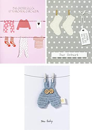 KARTENVERLIEBT – Glückwunschkarten-Set – 3 Babykarten – It's a Boy – It's a Girl – Welcome Baby – Glückwunsche zur Geburt