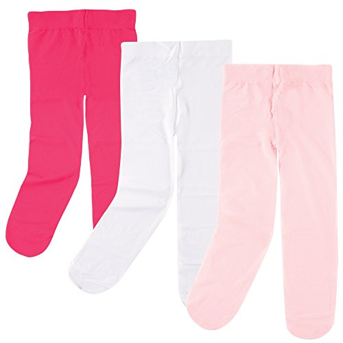 Luvable Friends Baby 3 Pack Tights For Baby, Dark Pink/Light Pink/White, 0-9 Months
