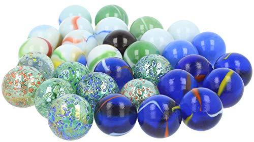 com-four® 32-teiliges Glasmurmelset - Glas-Murmeln zum Spielen und Sammeln - Spiele-Klassiker für drinnen und draußen (32-teilig - Murmeln)