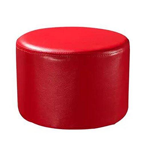 Blancho Runder Faux-Leder-moderner Kleiner Schemel-Schuh-Schemel Sofa Pier Ottoman Stool, Rot