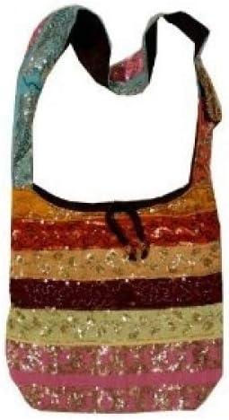 Silk Sari Sequined Beaded Hippie Hobo Sling Crossbody Messanger Patch Bag India