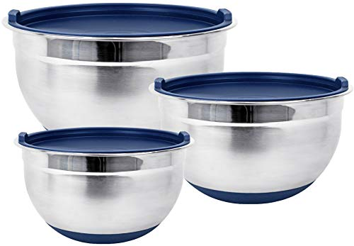 Stainless Steel Mixing Bowls with Lids and Non Slip Bases (Set of 3, Blue) by Fitzroy and Fox