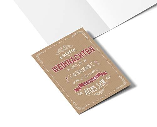 Biglietto di Natale retrò rosso per famiglia, amici e affari, biglietti moderni e pieghevoli, 50 pezzi