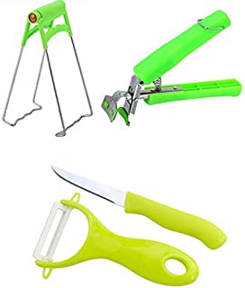 Essential Kitchen Tools Set 4 Packs - Bowl Clip + Plate Gripper + Planing Ceramic Peeler and Fruit Knife,Kitchen Gadgets, Chef's Good Helper (4 packs)