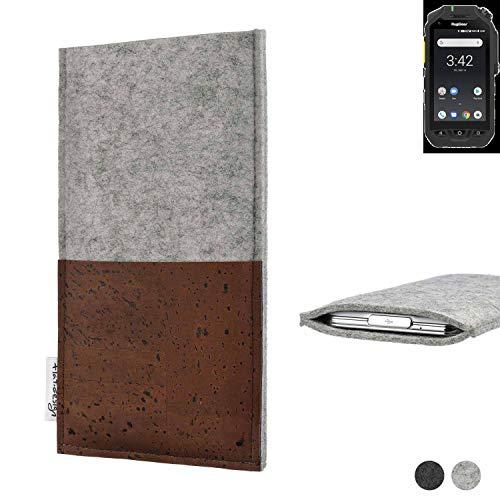 flat.design Handy Hülle Evora für Ruggear RG725 maßgefertigte Handytasche Kork Filz Tasche Case fair
