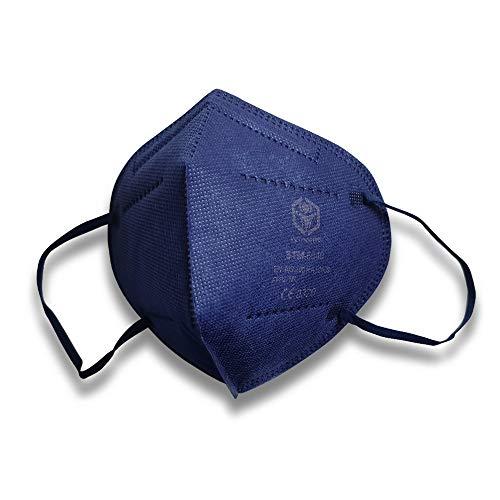 MASKEN24 STM 6040 Zertifizierte FFP2 Masken Faltbar - 10 Stück einzelverpackt im PE-Beutel - Staubmaske Atemmaske 5-lagige Mundmaske (Blau)