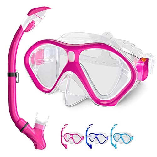 Tongtai Kids Snorkel Set,Snorkel Gear for Kid:Diving Mask&Foldable Dry Snorkel with Purge Valve&Anti-Splash Guard | Snorkeling Packages for Girls Boys Teen Youth