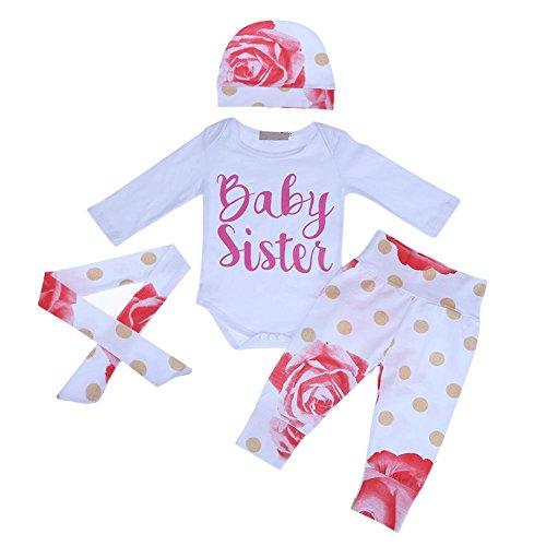 Domybest Domybest 4 Teile/Satz Baby Mädchen Blumen Punkte Muster Strampler + Pants + Stirnband + Hut (70)