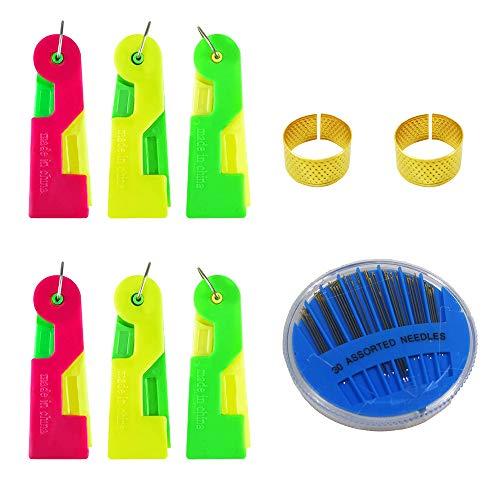6 Pezzi Infila Ago Automatico, Automatic Needle Threading Device Ago da Cucito Guida Facile Strumento infila Filo Colore Casuale Anziano con Due ditali e Una Scatola di Aghi da Cucito