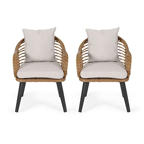Great Deal Furniture Madison Outdoor Wicker Club Chairs with Cushions (Set of 2), Light Brown and Beige