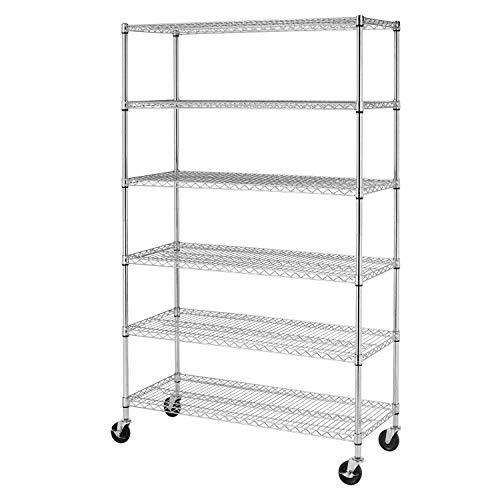 BestMassage Wire Shelving Unit Heavy Duty Garage Storage Shelves Large Metal Shelf Organizer 6-Tier Height Adjustable Commercial Grade Utility Steel Storage Rack with Wheels,18 x 48 x 76 (Chrome)