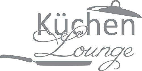 GRAZDesign Wandtattoo Wand-Spruch für Küche Küchen-Lounge mit Pfanne Wand-Worte für Esszimmer Restaurant (100x50cm//074 Mittelgrau)