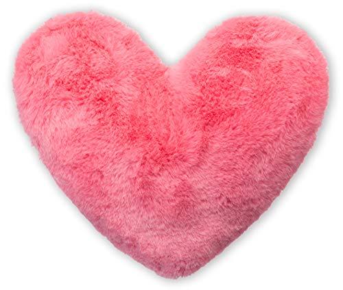 Brandsseller – Cuscino a Forma di Cuore in Peluche a Forma di Cuore. 40 x 30 cm Microfibra Rosa