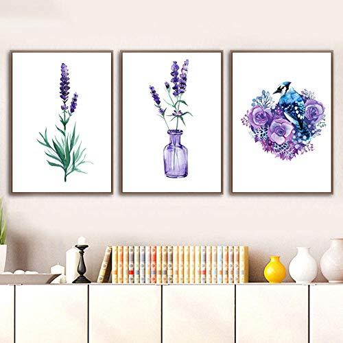 IGZAKER Paarse Lavendel Bloem Plant Blad Vogel Muur Canvas Schilderij Nordic Posters En Prints Muur Foto 'S Voor Woonkamer Decor-60x80cmx3pcsgeen frame