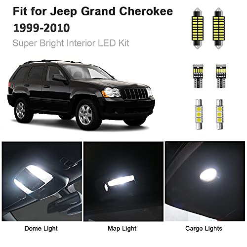 14pcs Grand Cherokee Interior LED Lights Kit Super Bright LED Map Dome Light Bulbs Replacement for 1999-2010 Jeep Grand Cherokee all models