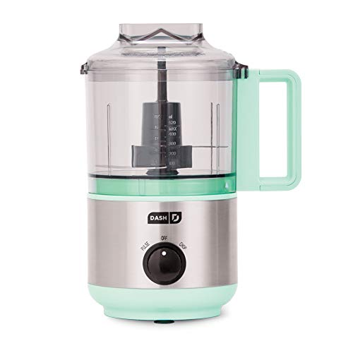 Dash DMFP100AQ Mini Food Chopper, Blender + Grinder with Stainless Steel Blades for BBQ Sauce, Salsa, Pesto, Salad & Dessert: Easily Meal Prep Onion, Nuts, Cheese, Garlic, Bacon & More, 2 Cup, Aqua
