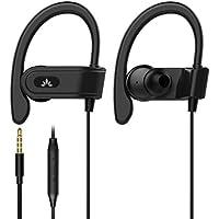 Avantree Auriculares Running Deportivos con Micrófono, Auriculares con Cable para Correr con Gancho de Oreja Compatibile con iPhone, Samsung - E171