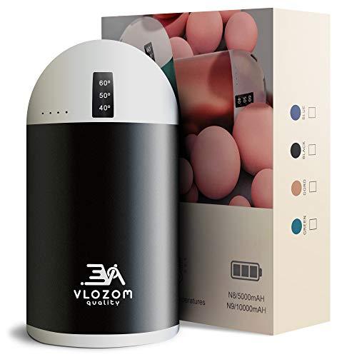 VLOZOM Calentadores de Manos Recargable 10000mAh 3en1, calienta Manos con 3 temperaturas programables, powerbank y Modo vibracion para masajes. (Negro, 10000mAh)