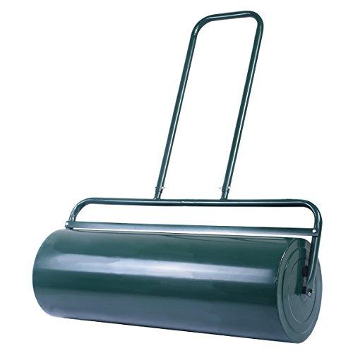 COSTWAY 63L Rasenwalze 90cm Handwalze, Gartenwalze mit Schwerlasttrommel, Rasenroller Ideal für einen Ebenen und weichen Rasen, Grün