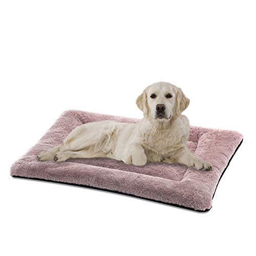 SIWA MARY Dog Bed Mat Soft Crate Pad Washable Anti-Slip Mattress for Large Medium Small Dogs and Cats Kennel Pad (35'' x 23'', Pink)