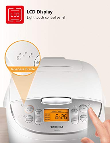 Product Image 1: Toshiba Cooker 6 Cups Uncooked (3L) with Fuzzy Logic and One-Touch Cooking, Brown Rice, White Rice and Porridge
