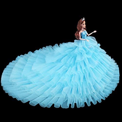 Fuwahahah Nieuwe Luxe Lange Staart Bruidsjurk Handgemaakte Kleding Pop Jurk voor Barbie Pop Blauw