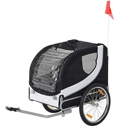 Pawhut Hundeanhänger Fahrradanhänger Hundetransporter Hunde Fahrrad Anhänger Schwarz 130 x 73 x 94 cm