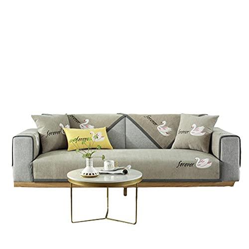 Funda de sofá seccional de Chenilla con patrón Bordado de Cisne,Protector de Muebles para sofá,Funda Protectora para Sala de Estar,Camello,70 * 210 cm