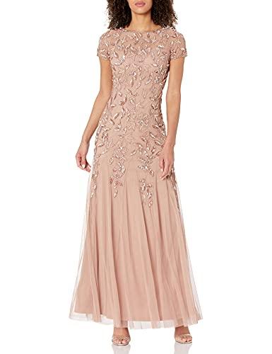 Adrianna Papell Women's Beaded V-Neck Blouson Gown, Blush, 8 (Apparel)