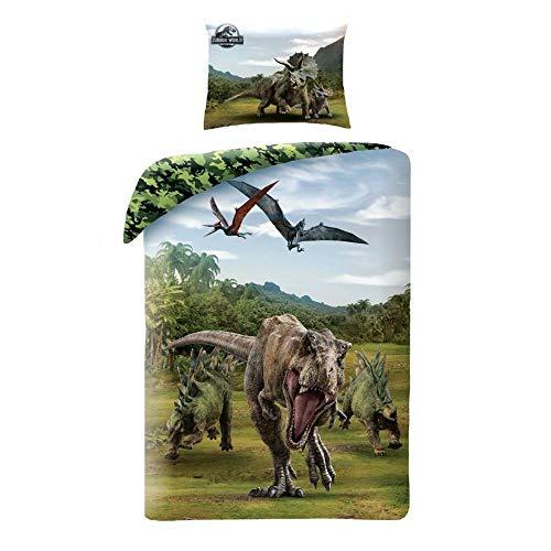 Halantex - JW2-21BL - Juego de Cama Jurassic World Dinosaurs TRICERATOPE T-Rex Funda Nórdica y Funda de Almohada Oficial - Multicolor - 100% Algodón - 140x200cm + 70x90cm