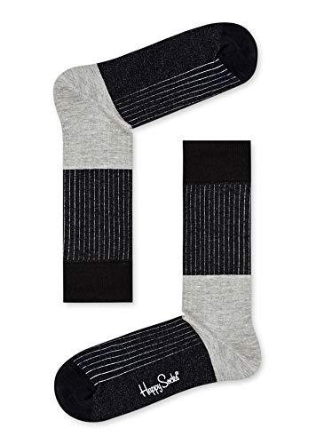 Happy Socks, bunt klassische Baumwolle Socken für Männer & Frauen, Black Block Rib (41-46)