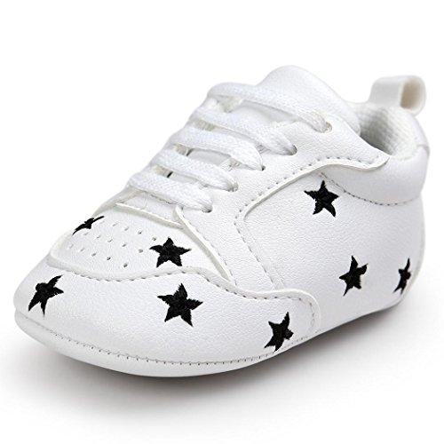 FNKDOR Baby Sternchen Schuhe Jungen Mädchen Weiß Lauflernschuhe Krabbelschuhe, 0-18 Monate (6-12 Monate, Schwarz)