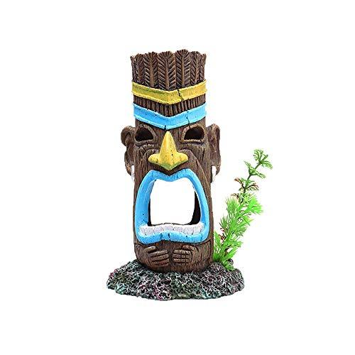 FENGLI Aquarium Accessories Creative Ornament Resin Mayan Aboriginal Totem Landscaping Fish Tank Aquarium Decoration (Color : Painted, Size : 7x7.5x12.5cm)