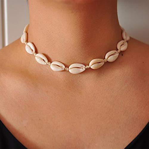 Bodiy Boho Shell Necklaces White Rope Beach Seahell Choker Necklace Jewelry for Women and Girls