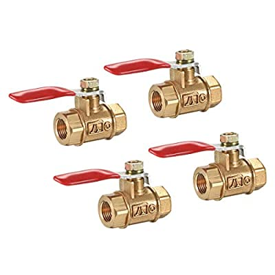 uxcell Brass Air Ball Valve Shut-Off Switch G1/8 Female to Female Pipe Tubing Fitting Coupler 180 Degree Operation Handle 4Pcs from uxcell