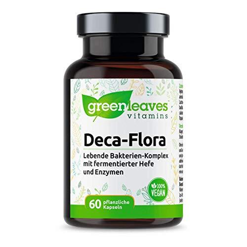 Greenleaves Vitamins - Deca-Flora - präbiotika und probiotika kapseln Lebende Bakterien-Komplex 60 Vegan Kapseln, 10 Stämme mit 10 Mrd. Bakterien (und enzyme verdauung)