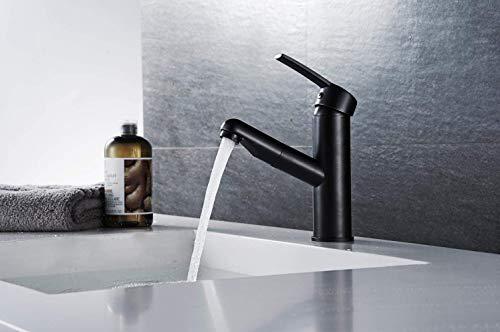 HYY-YY Grifo extraíble caliente y frío lavabo lavabo redondo solo agujero lavado lavabo telescópico